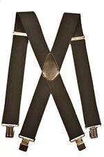 Mens XXL Extra Wide, Heavy Duty X-Shape Braces  Suspenders, 5cm - Black