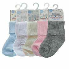 Newborn Baby Girl Boy Cute Ankle Soft Turnover Plain Socks Roll Top 0-3 Months
