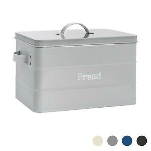 Bread Bin Storage Kitchen Loaf Roll Food Box Retro Home Container Grey