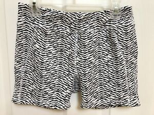 Justice Zebra Print Knit Athletic Fitted Fitness Workout Gymnastics Shorts Sz 14