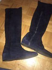 stuart weitzman Navy Blue Suede Wedge Knee High boots size 7.5