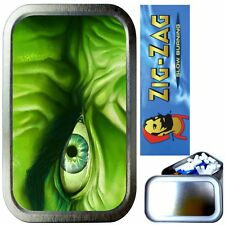 HULK EYE SMOKING SET, SILVER 1oz TOBACCO TIN, ZIG ZAG PAPERS & FILTERS