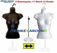 Set Female Mannequin Forms + Stand, Body Torso Display Dress Shirt - White Black