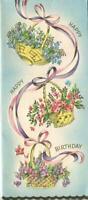 VINTAGE BASKETS OF VINCA FLOWERS SWINGING ON RIBBONS EMBOSSED BDAY GREETING CARD