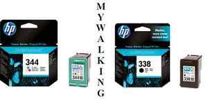 GENUINE ORIGINAL HP 344 COLOUR + 338 BLACK CARTRIDGES FAST POSTAGE 2YR GUARANTEE
