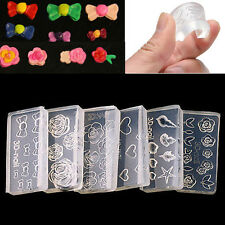 6pcs 3D Acrylic Silicone Mold Mould for Nail Art DIY Decor Design Tools Hot