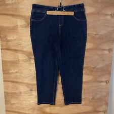 """Terra e cielo Da Donna Jeans Pull On Lavaggio Scuro Jeans Blu Taglie Forti 0X 14W 27""""L"""