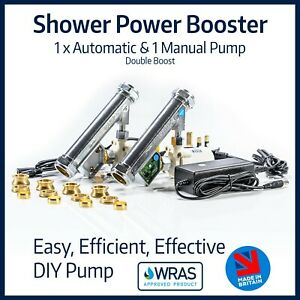Shower Power Booster | 1 x Automatic & 1 Manual Pump | Kitchen Tap Flow Booster