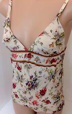 Gaultier Camisole Beige Silk Flowered NWT $550 Size 40 BUST 32