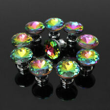 10pcs 30mm Crystal Glass Cupboard Wardrobe Knobs Drawer Cabinet Door Handle Pull