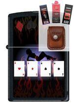 Zippo 9805 poker lady 4 aces Lighter + FUEL FLINT WICK POUCH GIFT SET