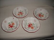 4~EAST WEST DISTRIBUTING CO CERAMIC POINSETTA CHRISTMAS BERRY/ CEREAL BOWLS