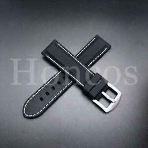 22 MM Black Rubber Silicone Soft Watch Band Strap Heavy Duty White Stitching USA
