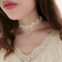 Women Handmade Vintage Gothic Hollow White Lace Choker Pearl Pendant Necklace