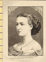 C1880 Victoriano Estampado ~ Her Real Highness The Princesa De Gales Alexandra