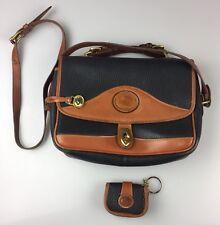 Vintage Dooney & Bourke Navy Blue British Tan Leather Cross-body + Change Purse