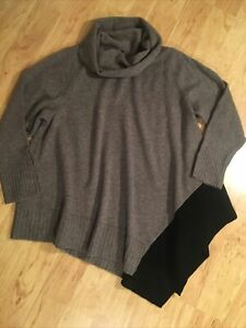 Eileen Fisher 3X Cowl Neck Asymmetrical Long Color Block Sweater Soft Wool Blend
