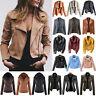 Womens Faux Leather Zip Up Jacket Coat Biker Casual Flight Tops Hooded Outwear
