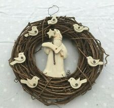 Nordic Large Christmas Santa Wreath Hand Made Rustic Twigs Wood 29cms NEW JC235