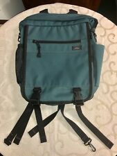 L.L. Bean Monogram Embroidery Green Polyester Canvas Back Day Pack School Travel