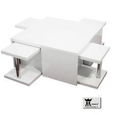 Tavolino RR design salotto soggiorno legno laccato lucido bianco con 4 sgabelli!