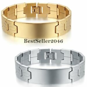 Silver Gold Tone Wide Classic Stainless Steel Men's Bangle Bracelet  Engraving