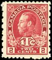 Canada #MR5 mint F-VF OG NH 1916 King George V 2c+1c carmine Admiral War Tax