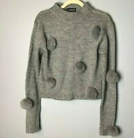 Chapter New York London NEW Women's Sweater Size Small Gray Poms Poms NWT