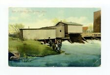 Taunton Ma Mass 1911 antique postcard, children, Dam at Herring Run