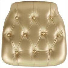 Bowery Hill Hard Tufted Vinyl Chiavari Chair Cushion In Gold