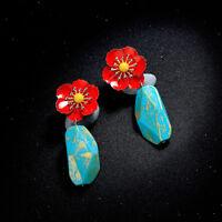 Boucles d'oreilles Clous Doré Fleur Rouge Motif Goutte Turquoise Bleu Retro AA31