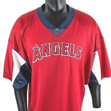 Anaheim Angels Baseball Jersey Lee Sport Mens Size XL V Neck Red White and Blue