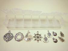 10 Metallanhänger MARITIM in Sortierbox Silber Set Mix Bastelset Schmuck DIY