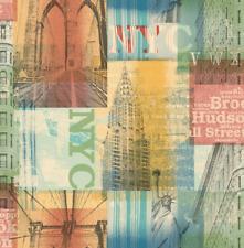 Wallpaper Designer Bright Graphic Multi Color NYC New York City Landmarks