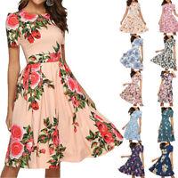 Elegant Womens Casual Rose Print O-Neck Short Sleeve Mini Dress For Stroll Daily