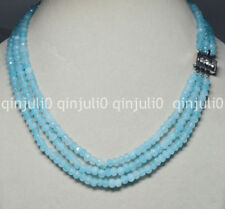 """3Rows 4X6mm Faceted Blue Aquamarine Rondelle Beads Gems Necklaces 17-19"""" JN734"""