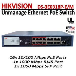 Hikvision 16 Ports PoE Switch + 1 Uplink Port + 1x SFP Port DS-3E0318P-E/M 130W