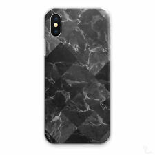 BLACK MARBLE PHONE CASE GREY DIAMOND TILE HARD COVER FOR APPLE SAMSUNG HUAWEI