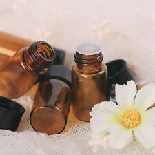 12pcs 1ml (1/4 dram) Amber Glass Essential Oil Bottle, Orifice Reducer and cap