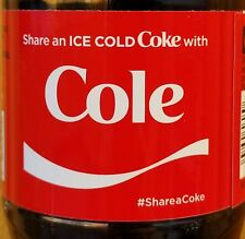 Summer 2017 Share A Coke With Cole 20 oz Coca Cola Collectible Bottle