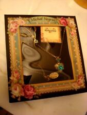 Michal Negrin Necklace & Earings Bejeweled Gift Set Valentine Day Heart Locket