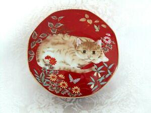 Cathy Takahashi San Francisco Cat Floral Vintage 8 Sided Porcelain Trinket Box