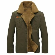 Men's Winter Bomber Pilot Warm Fur Collar Army Jacket Tactical Coat Plus Size