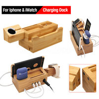 Bambou Bois Chargement Station Pied Dock Chargeur pour Apple 1
