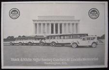 Washington, DC Union Station Black & White Sight Seeing Coaches Lincoln Memorial