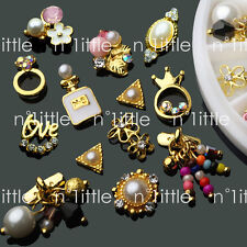 14 Pcs 3D Nail Art GOLD Flower Ring Decoration Alloy/Pearl Jewelry Rhinestone
