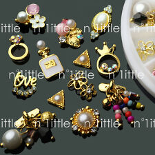 14 Pcs 3D Nail Art GOLD Flower Ring Decoration Alloy/Pearl Jewelry Rhinestone