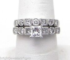 Diamond Wedding Band Engagement Set Ladies White Gold 1.25 Cts.