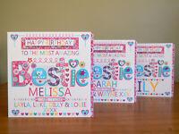BESTIE birthday card personalised-Special BESTIE for best friend lovely card