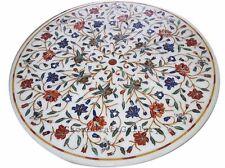 "36"" Marble Coffee Dining Table Top Inlay Pietra Dura Handmade Home Decor"